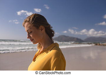 reputacja, plaża, kobieta, zamknięte wejrzenie