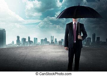 reputacja, poddasze, handlowy, dzierżawa parasol, człowiek