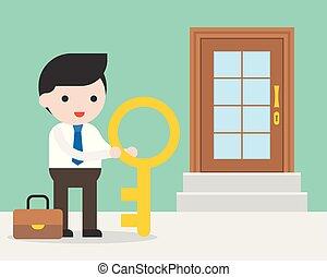 reputacja, pojęcie, drzwi, handlowy, powodzenie, cielna, klucz, droga, przód, biznesmen, zaopatrywać