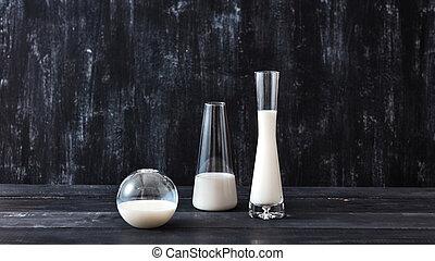 reputacja, produkt, kasownik, drewniany, product., trzy okularów, mleczny, mleczarnia, stół, jogurt, organiczny, black., albo, czarnoskóry