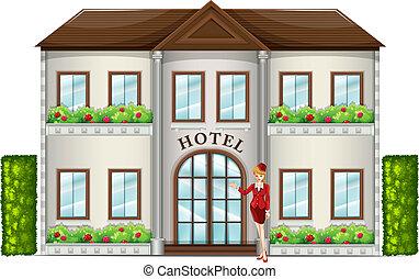 reputacja, przód, asystent, hotel