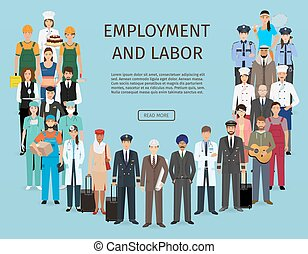 reputacja, różny, grupa, banner., ludzie, robota, razem., litery, pracownik, occupation., zatrudnienie, dzień