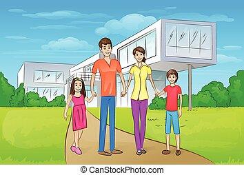 reputacja, rodzina, dom, nowoczesny, cielna, przód, nowy