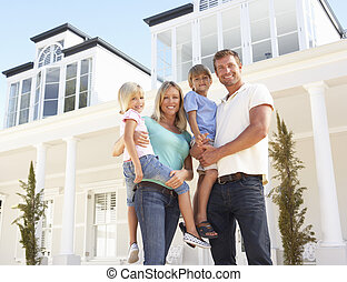 reputacja, rodzina, młody, zewnątrz, dom, sen