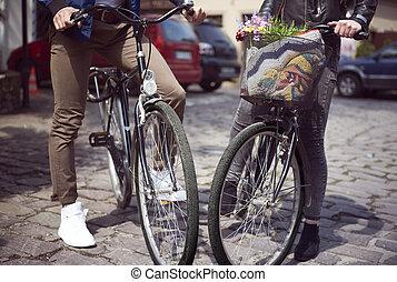 reputacja, sekcja, bicycles, ulica, niski, para