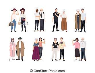 reputacja, sprytny, komplet, portraits., barwny, rodzina, płaski, dziadkowie, ilustracja, odizolowany, plik, rysunek, tło., wektor, wnuki, razem., litery, zbiór, biały, style.