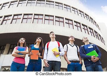 reputacja, studenci, grupa razem, szczęśliwy