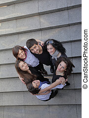 reputacja, studenci, grupa, schody, szczęśliwy