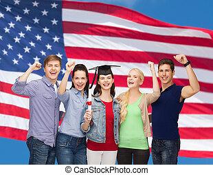 reputacja, studenci, uśmiechanie się, grupa, dyplom