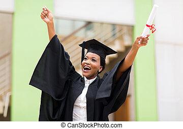 reputacja, uniwersytet, absolwent, bu, amerykanka, samica, przód, afro