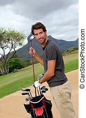 reputacja, wyposażenie, człowiek, golfowy bieg