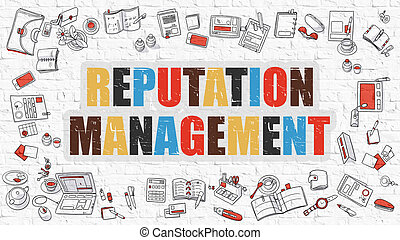 Reputation Management in Multicolor. Doodle Design.