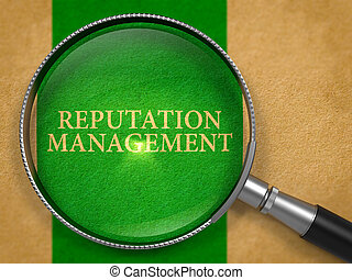 Reputation Management Concept through Magnifier.