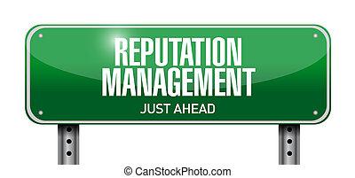 reputation management road sign illustration design over a white background