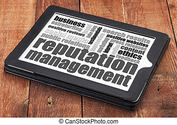 reputation management word cloud on adigital tablet tablet...