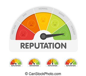 Reputation meter withdifferent emotions. Measuring gauge indicator vector illustration. Black arrow in coloured chart background