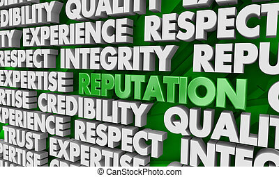Reputation Respect Trust Credibility Word Collage 3d Illustration