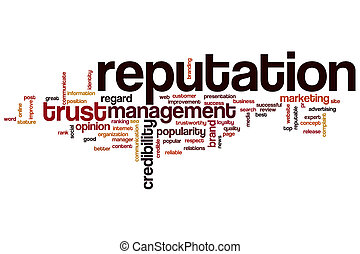 Reputation word cloud concept with crediblity brand related...
