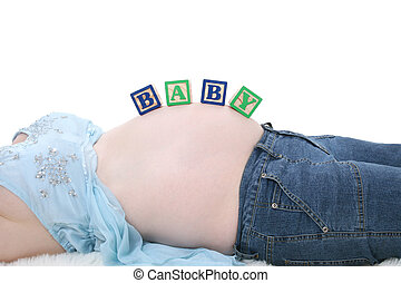 Request - Alphabet Blocks Spell Baby Across Expecting Mom...