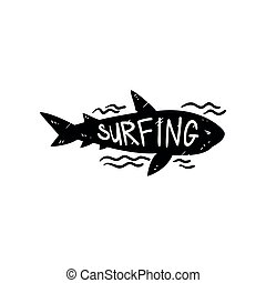 requin, être, conception, magasin, aviateur, dessiné, logo, ressac, écusson, utilisé, affiche, club, illustration, main, étiquette, impression, surfer, emblème, élément, vecteur, boîte, sauvage, vêtements