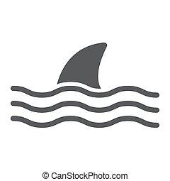 requin, aquatique, 10., sous-marin, solide, modèle, eps, signe, icône, vecteur, animal, graphiques, fond blanc, glyph