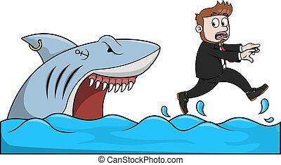 requin, attaque, homme affaires