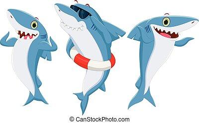 requin, dessin animé, heureux
