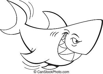 Requin blanc noir poisson marteau dessin anim requin - Modele dessin requin ...