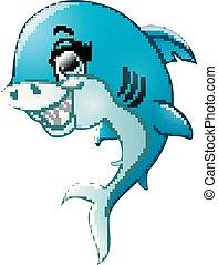 requin, isolé, fond, blanc, dessin animé, heureux