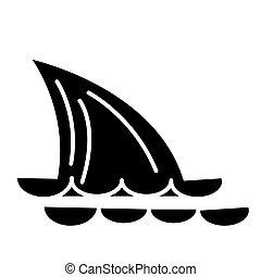requin, mer, illustration, -, isolé, signe, queue, vecteur, arrière-plan noir, icône