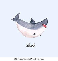 requin, mignon, vecteur, illustration, bébé, aquarelle, impression, enfants