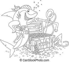 requin, poitrine, trésor, pirate