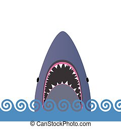 requin, vecteur, mer, illustration