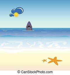 requin, vecteur, plage, illustration