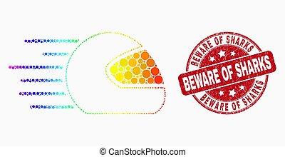 requins, casque, timbre, prendre garde, spectre, gratté, vecteur, motocyclette, cachet, vitesse, pixel, icône