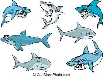 requins, expressions, divers, dessin animé
