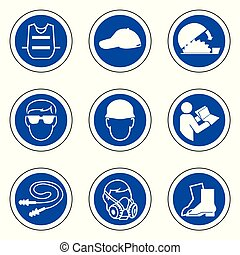 Required Personal Protective Equipment (PPE) Symbol, Safety Icon