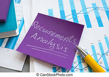 Requirements analysis report with papers and charts.
