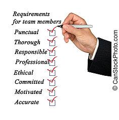 requisitos, para, miembros de equipo
