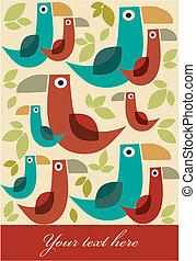 rero cartoon birds pattern with leafs -1