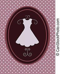 rerto, jurkje, mode, shop., vector, illustratie, -1