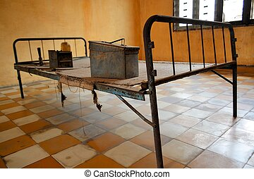 Res Khmer Torture Bed in Prison Cell of Tuol Sleng in Pnomh Penh Cambodia