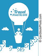 resa, arround, värld