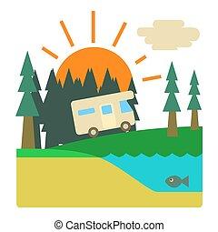 resa, av, campare, in, skog, begrepp, lägenhet, stil