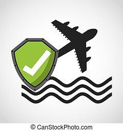 resa, begrepp, försäkring, ikon