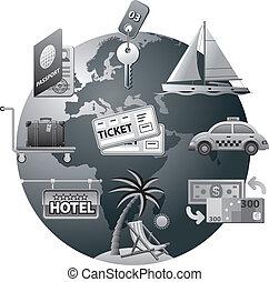 resa, begrepp, ikon, grå