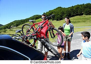 resa, bicycles, fritids-, förberedande, familj