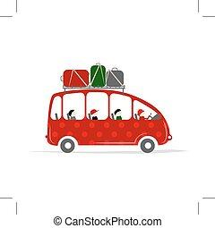 resa, buss, med, folk, och, bagage, på, den, tak
