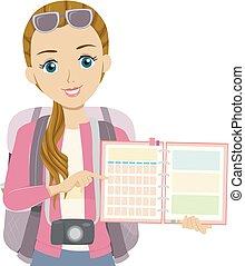 resa, flicka, illustration, tonåring, planläggare