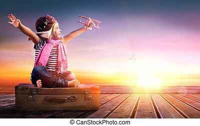 resa, -, flicka, litet, dröm